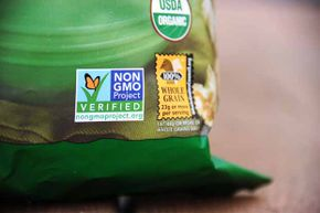 A label on this bag of popcorn indicates it is non-GMO. Some grocery chains will start labeling their products to let consumers know they do not contain GMOs. A referendum to make this the law in California was defeated in 2012.
