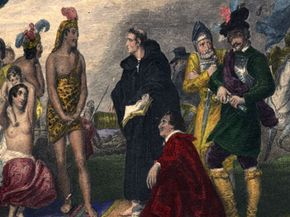 European missionaries greet South Americans they hope to convert in the 16th century.