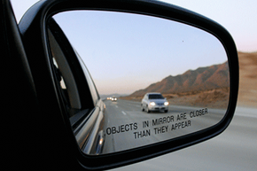 Side-view mirror on car