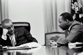 President Lyndon B. Johnson and Martin Luther King, Jr. in the White House Cabinet Room