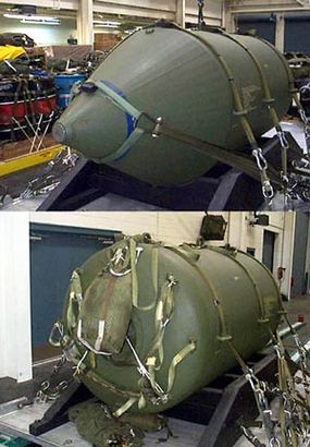 Front and rear view of a BLU-82 free-fall bomb (Daisy Cutter)
