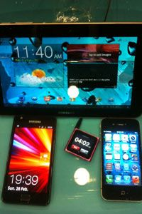 This HZO demonstration at Showstoppers, Mobile World Congress 2012 in Barcelona features a submerged iPod Nano that timed the display, which showed electronics still functioning after more than four hours.