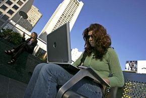 With mobile broadband, computer users can surf the Internet and check e-mail from any location, including outside.