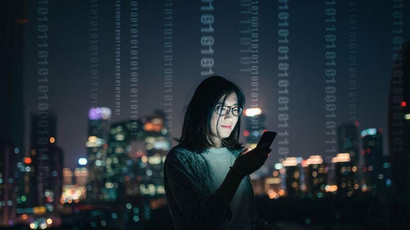 Woman, mobile phone