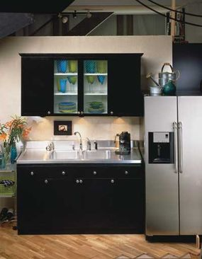 Built-in storage space is ideal in a modern-decor setting.