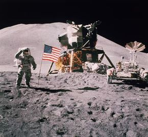 Astronaut James Irwin salutes in front of the landing module of the Apollo 15 on the moon. But why aren't there any stars in the background?