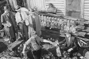 State agents found 75 gallons of contraband whiskey hidden under a tree stump in Atlanta in 1944.
