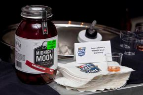 Samples of Junior Johnson's strawberry-flavored moonshine were handed out at NASCAR Hall of Fame Weekend in 2012.