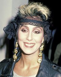 """Cher maintained her biker-chic look for the Los Angeles premier of """"Mask."""""""