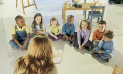 Children enjoy listening to story time.