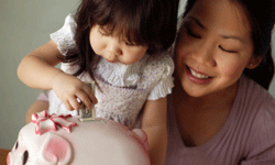 It's never too early to teach your child about the importance of saving money.