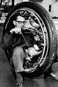 Inventor LaFrance Bressen saw an old poster from the 1920s showing a one-wheel motorcycle, so he built himself one in Galesburg, Mich. on Nov. 25, 1969. He sits inside a 36-inch wheel powered by a 50cc motorcycle engine.