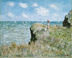 Claude Monet painted Cliff Walk at Pourville in 1882. See more pictures of Monet paintings.