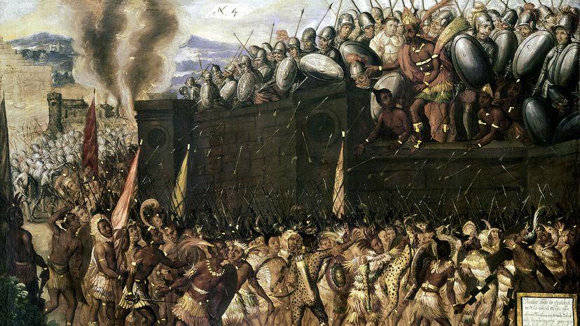 Montzeuma pleads with Aztecs