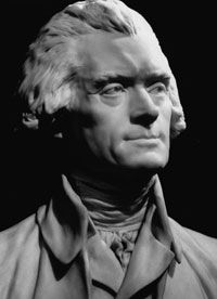A bust of Thomas Jefferson by Jean Antoine Houdon.