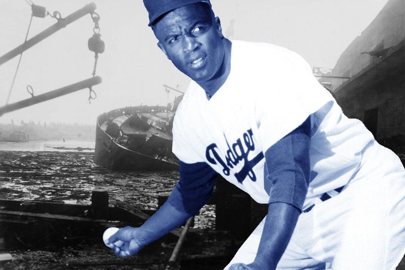 Jackie Robinson's breaking of the color barrier in baseball captured far more attention than the Texas City explosion that killed nearly 600. WikimediaCommons/PhotoFile/MLBPhotosviaGettyImages