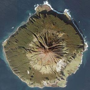 This satellite image shows Tristan da Cunha Island.