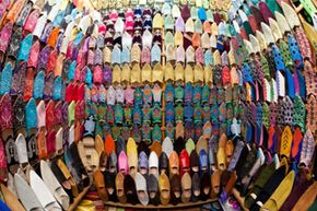 Traditional footwear for Moroccan men and women includes leather slippers known as babouches.