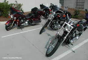 Examples of touring motorcycles (left) and cruisers (right)