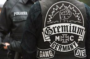 Image Gallery: Motorcycles Members of the MC Gremium motorcycle gang in Germany wear their motorcycle colors to show their affiliation with the gang. See pictures of motorcycles.