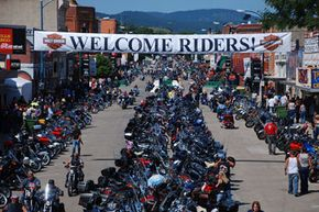 Up to 650,000 bikers attend the annual Sturgis Motorcycle Rally in the small town of Sturgis, S.D.