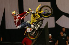 Travis Pastrana prepares to do the first recorded double backflip.