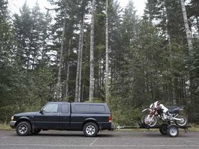 When towing a motorcycle trailer, drive mindful of the wheeled cargo behind you.