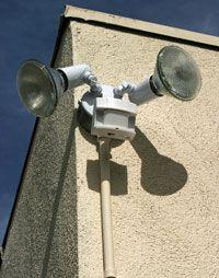 Motion sensor lights, like the lights on this building, detect infrared energy.