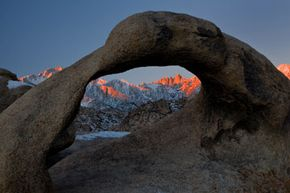 A view of Whitney Arch at sunrise.