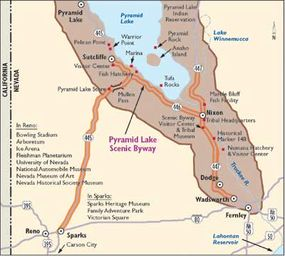 View Enlarged Image This map shows highlights along Pyramid Lake Scenic Byway.