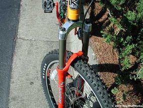 A typical mountain-bike suspension fork