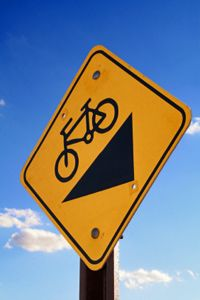 Be aware of signs like this when you're on the trail. This sign is warning you that there's a steep descent ahead.