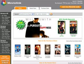 The MovieLink site organizes available titles into ones you can buy and ones you can rent.