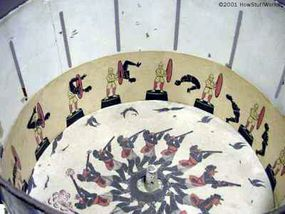 Pictures line the inside of the drum of a zoetrope.