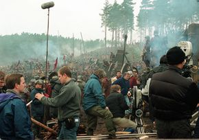 Film set of the movie Gladiator, being filmed at Bourne Wood. See more movie making pictures.