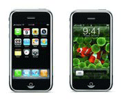 The Apple iPhone has a 4 GB or 8 GB flash drive.