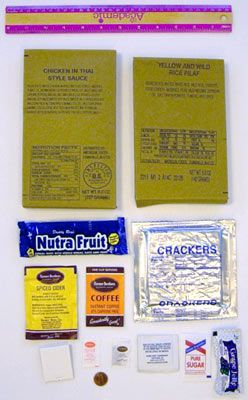Contents of an MRE bag