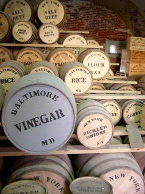 Recreations of Civil War era storage barrels, at Fort Macon State Park