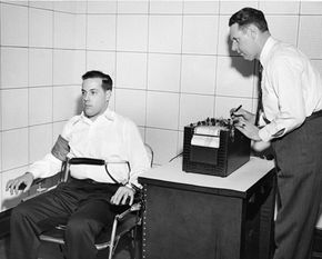 Joe Larson, one of the inventors of the polygraph machine, demonstrates it in the 1930s. The validity of the polygraph has come into question increasingly over past decades.