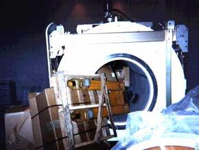 In this photograph, you can see a fully loaded pallet jack that has been sucked into the bore of an MRI system.
