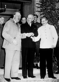 From left, Winston Churchill, Harry S. Truman and Joseph Stalin shaking hands in Potsdam in August 1945, right before things got really awkward.