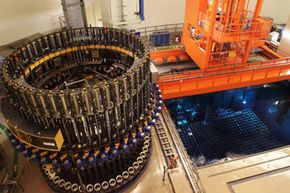 Image Gallery: Inside a Nuclear Power Plant The fuel assembly storage basin inside the reactor building at the Isar 2 nuclear power plant in Essenbach near Landshut, Germany. See more pictures inside a nuclear power plant.