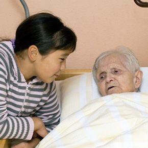 It can be difficult for some children to visit a nursing home.