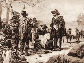 Peter Minuit offers an American Indian chief trinkets worth about 60 guilders in exchange for the island of Manhattan.