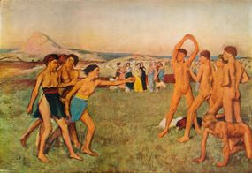 young spartans exercising oil painting by edgar degas