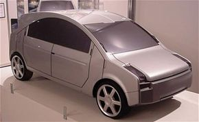 A table-top model of the low-mass concept vehicle, which could one day be marketed to developing countries.