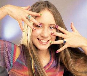 Groove with the peace, love, and happiness nail art design.
