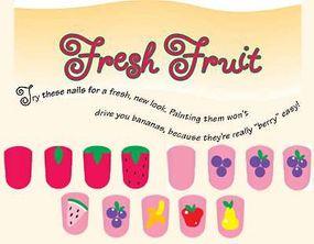 The fresh fruit nail art idea includes many fruit shapes.