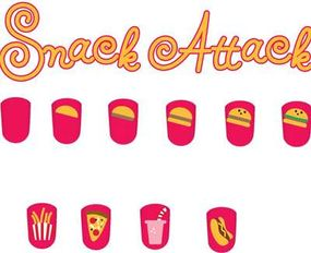 Paint the snack attack nail art design in six steps.