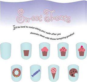 The sweet treats nail art idea includes many goodies.